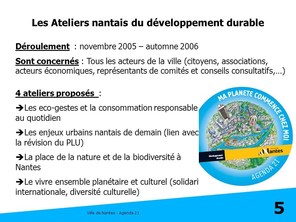 Ville de Nantes - Agenda 21 5 Les Ateliers nantais du développement durable 4 ateliers proposés : Les eco-gestes et la consommation responsable au quo
