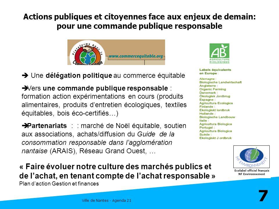 Ville de Nantes - Agenda 21 7 Une délégation politique au commerce équitable Vers une commande publique responsable : formation action expérimentation