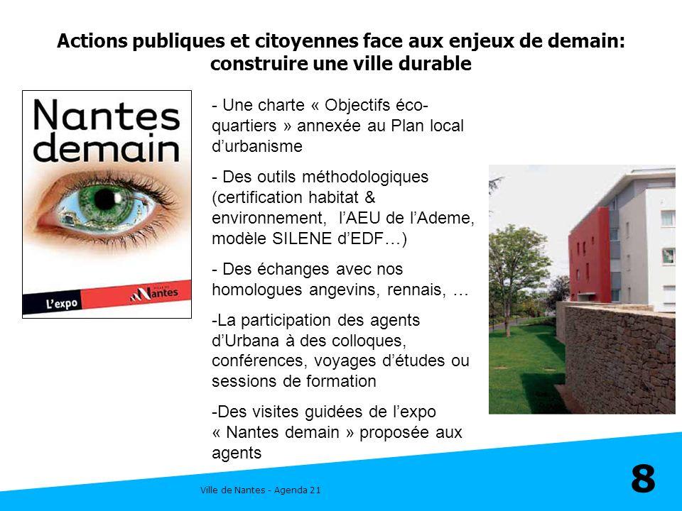 Ville de Nantes - Agenda 21 8 Actions publiques et citoyennes face aux enjeux de demain: construire une ville durable - Une charte « Objectifs éco- qu