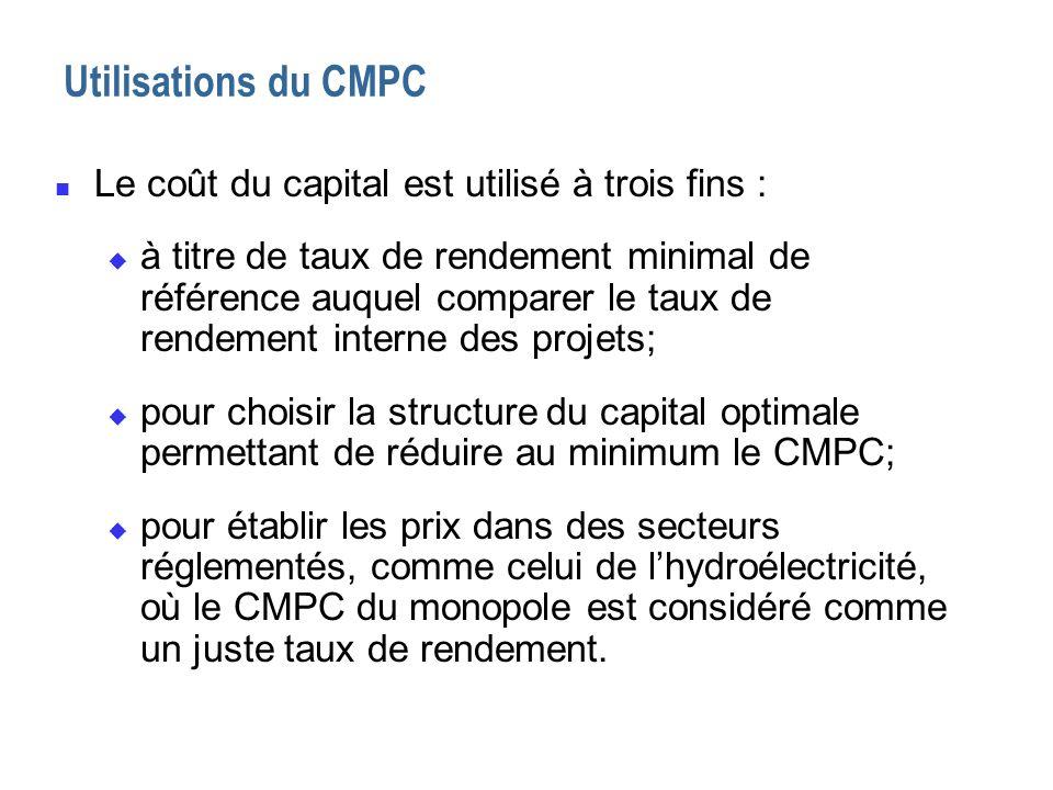 Utilisations du CMPC n Le coût du capital est utilisé à trois fins : u à titre de taux de rendement minimal de référence auquel comparer le taux de re