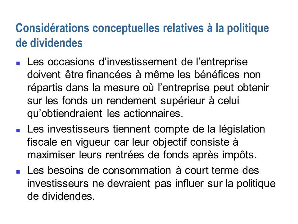 Considérations conceptuelles relatives à la politique de dividendes n Les occasions dinvestissement de lentreprise doivent être financées à même les b