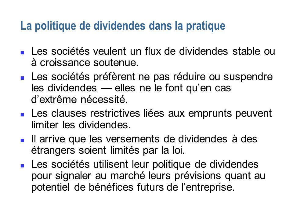 La politique de dividendes dans la pratique n Les sociétés veulent un flux de dividendes stable ou à croissance soutenue. n Les sociétés préfèrent ne