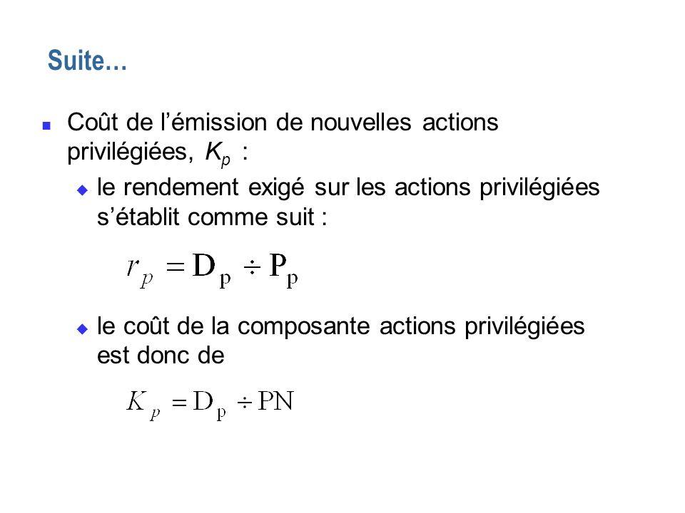n Coût de lémission de nouvelles actions privilégiées, K p : u le rendement exigé sur les actions privilégiées sétablit comme suit : u le coût de la c