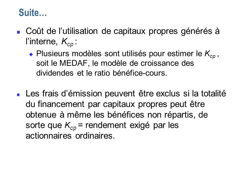 n Coût de lutilisation de capitaux propres générés à linterne, K cp : u Plusieurs modèles sont utilisés pour estimer le K cp, soit le MEDAF, le modèle