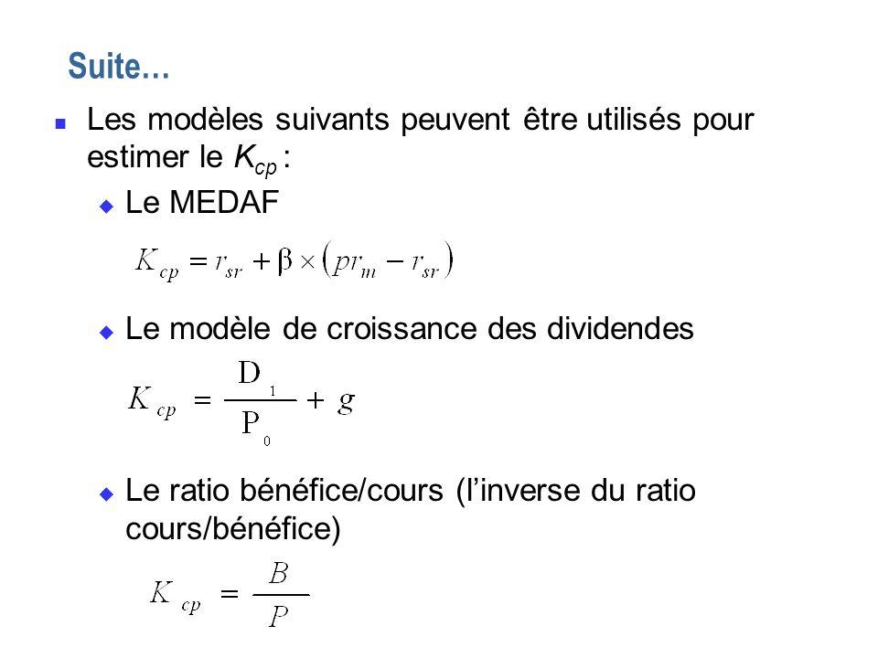 n Les modèles suivants peuvent être utilisés pour estimer le K cp : u Le MEDAF u Le modèle de croissance des dividendes u Le ratio bénéfice/cours (lin