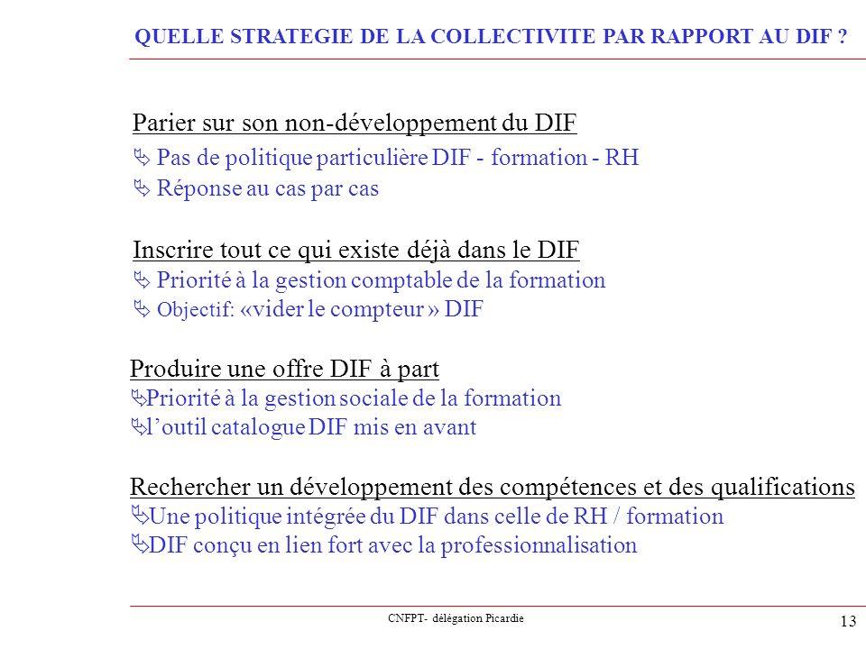 CNFPT- délégation Picardie 13 Parier sur son non-développement du DIF Pas de politique particulière DIF - formation - RH Réponse au cas par cas Inscri