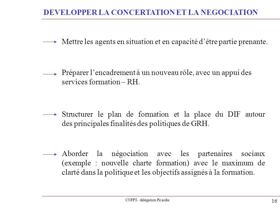 CNFPT- délégation Picardie 16 DEVELOPPER LA CONCERTATION ET LA NEGOCIATION Mettre les agents en situation et en capacité dêtre partie prenante. Prépar