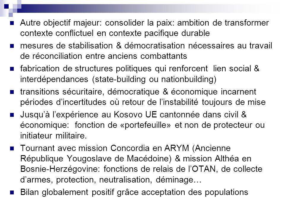 Autre objectif majeur: consolider la paix: ambition de transformer contexte conflictuel en contexte pacifique durable mesures de stabilisation & démoc