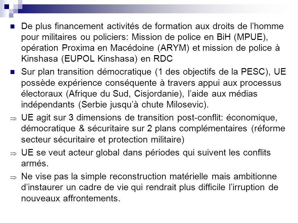 De plus financement activités de formation aux droits de lhomme pour militaires ou policiers: Mission de police en BiH (MPUE), opération Proxima en Ma