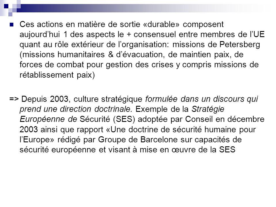 Ces actions en matière de sortie «durable» composent aujourdhui 1 des aspects le + consensuel entre membres de lUE quant au rôle extérieur de lorganis