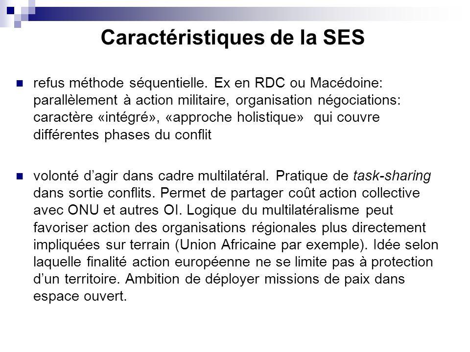 Caractéristiques de la SES refus méthode séquentielle. Ex en RDC ou Macédoine: parallèlement à action militaire, organisation négociations: caractère