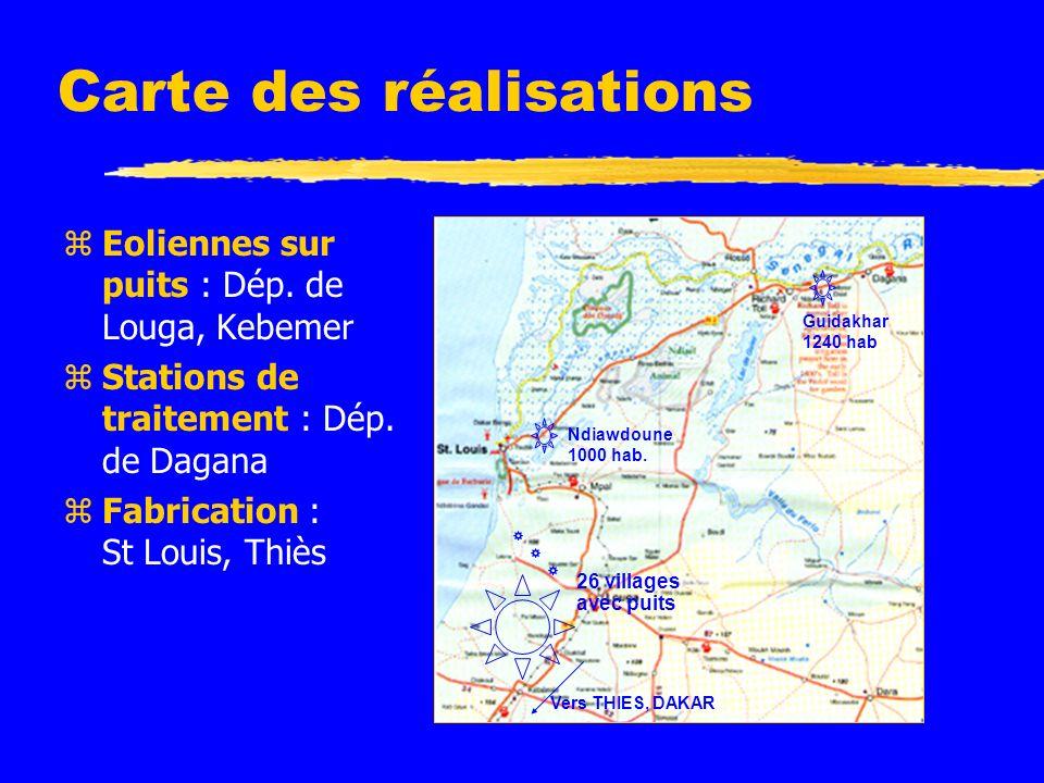Carte des réalisations zEoliennes sur puits : Dép.
