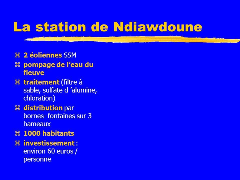 La station de Ndiawdoune z2 éoliennes SSM zpompage de leau du fleuve ztraitement (filtre à sable, sulfate d alumine, chloration) zdistribution par bornes- fontaines sur 3 hameaux z1000 habitants zinvestissement : environ 60 euros / personne