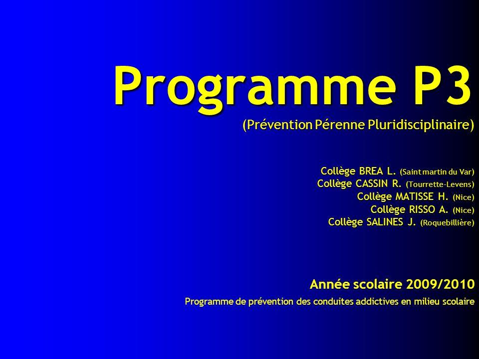 Programme P3 (Prévention Pérenne Pluridisciplinaire) Collège BREA L. (Saint martin du Var) Collège CASSIN R. (Tourrette-Levens) Collège MATISSE H. (Ni