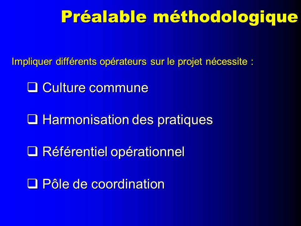 Préalable méthodologique Impliquer différents opérateurs sur le projet nécessite : Culture commune Culture commune Harmonisation des pratiques Harmoni