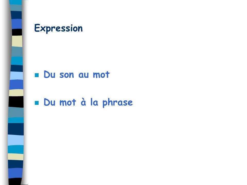 Expression n Du son au mot n Du mot à la phrase