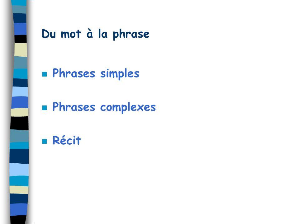 Du mot à la phrase n Phrases simples n Phrases complexes Récit