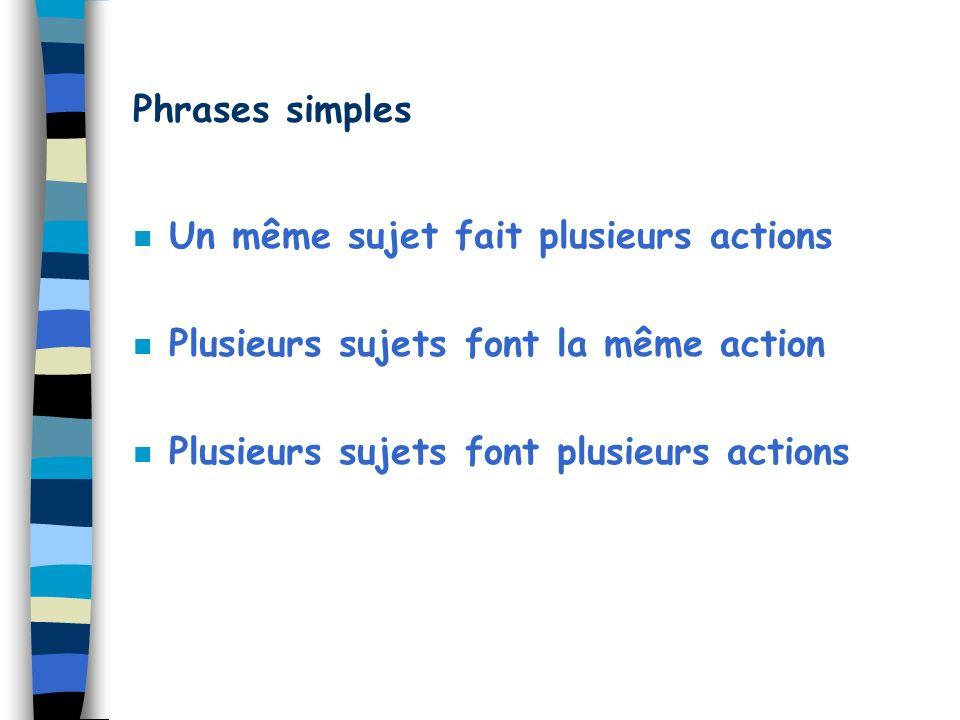 Phrases simples n Un même sujet fait plusieurs actions n Plusieurs sujets font la même action n Plusieurs sujets font plusieurs actions