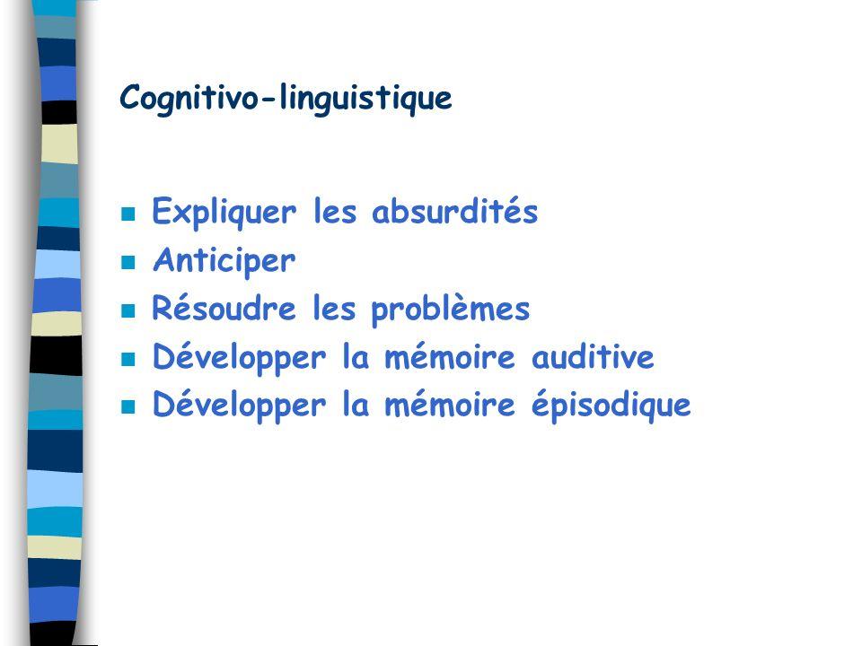 Cognitivo-linguistique n Expliquer les absurdités n Anticiper n Résoudre les problèmes n Développer la mémoire auditive n Développer la mémoire épisod