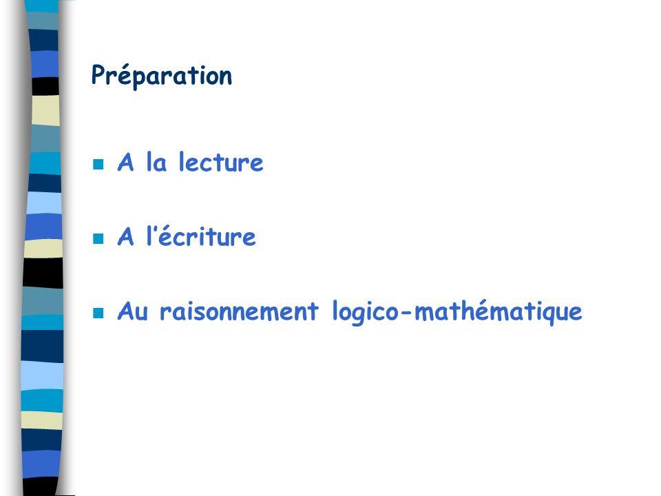Préparation n A la lecture n A lécriture n Au raisonnement logico-mathématique