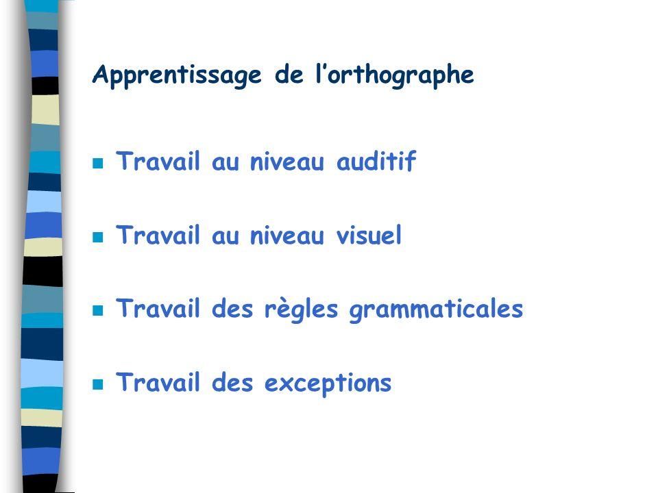 Apprentissage de lorthographe n Travail au niveau auditif n Travail au niveau visuel n Travail des règles grammaticales n Travail des exceptions