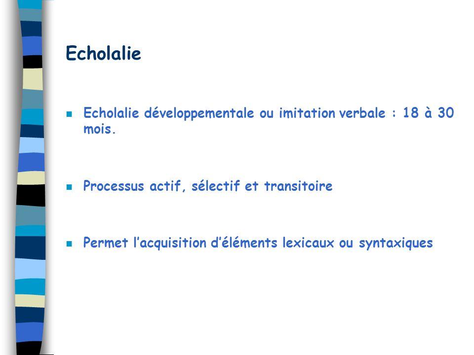 Echolalie n Echolalie développementale ou imitation verbale : 18 à 30 mois. n Processus actif, sélectif et transitoire n Permet lacquisition déléments