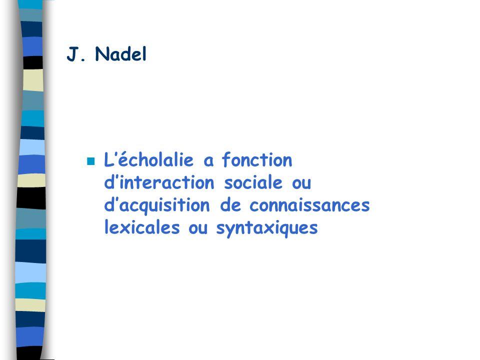 J. Nadel n Lécholalie a fonction dinteraction sociale ou dacquisition de connaissances lexicales ou syntaxiques