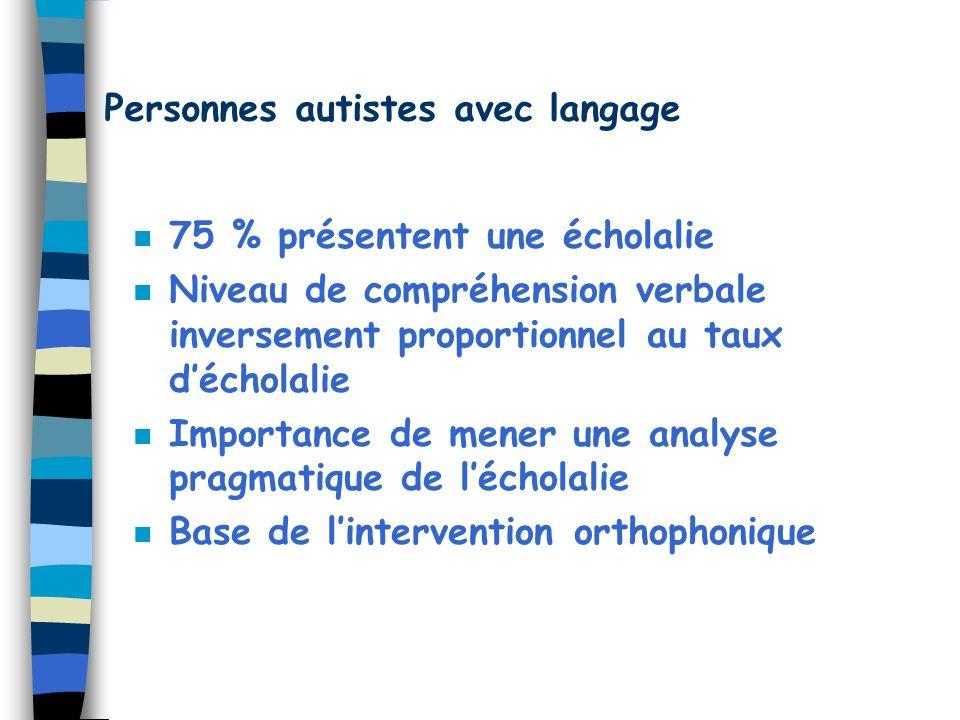 Personnes autistes avec langage n 75 % présentent une écholalie n Niveau de compréhension verbale inversement proportionnel au taux décholalie n Impor
