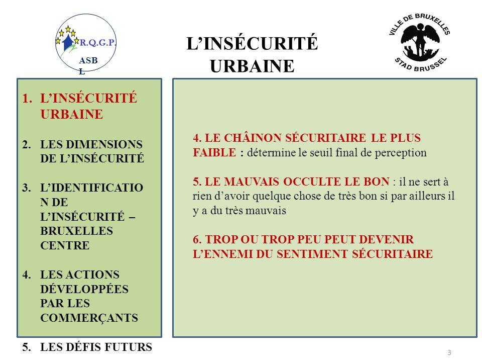 1.LINSÉCURITÉ URBAINE 2.LES DIMENSIONS DE LINSÉCURITÉ 3.LIDENTIFICATIO N DE LINSÉCURITÉ – BRUXELLES CENTRE 4.LES ACTIONS DÉVELOPPÉES PAR LES COMMERÇANTS 5.LES DÉFIS FUTURS 4 7.