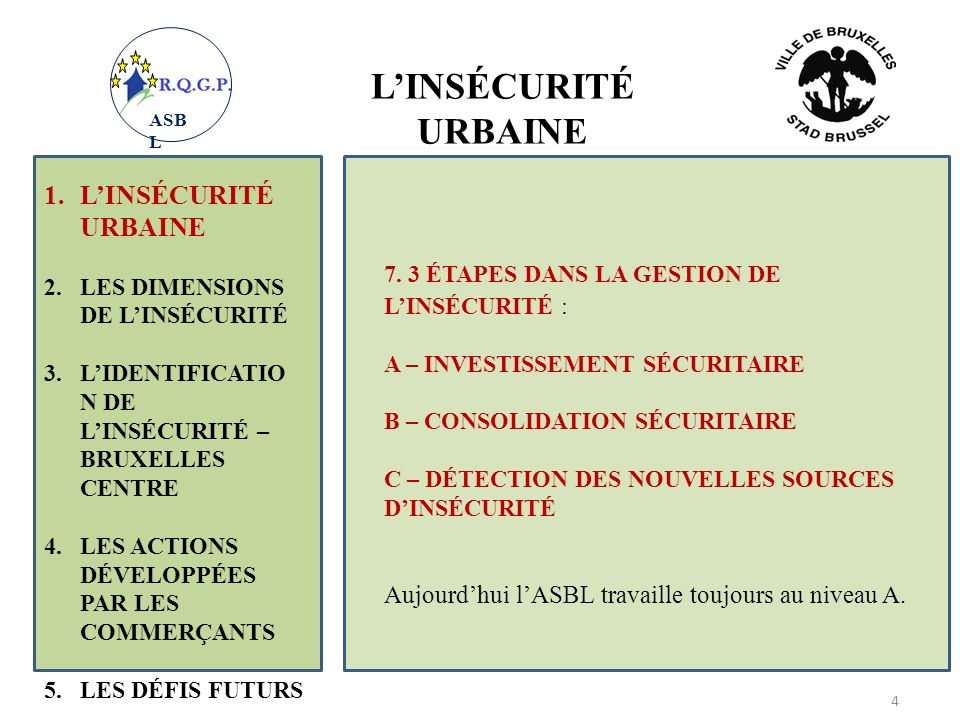 LIDENTIFICATION DES DÉFIS SÉCURITAIRES : 1.LINSÉCURITÉ URBAINE 2.LES DIMENSIONS DE LINSÉCURITÉ 3.LIDENTIFICATIO N DE LINSÉCURITÉ 4.LES ACTIONS DÉVELOPPÉES PAR LES COMMERÇANTS 5.LES DÉFIS FUTURS 15 QUE DEVRAIENT FAIRE LES COMMERÇANTS ET LES HABITANTS .