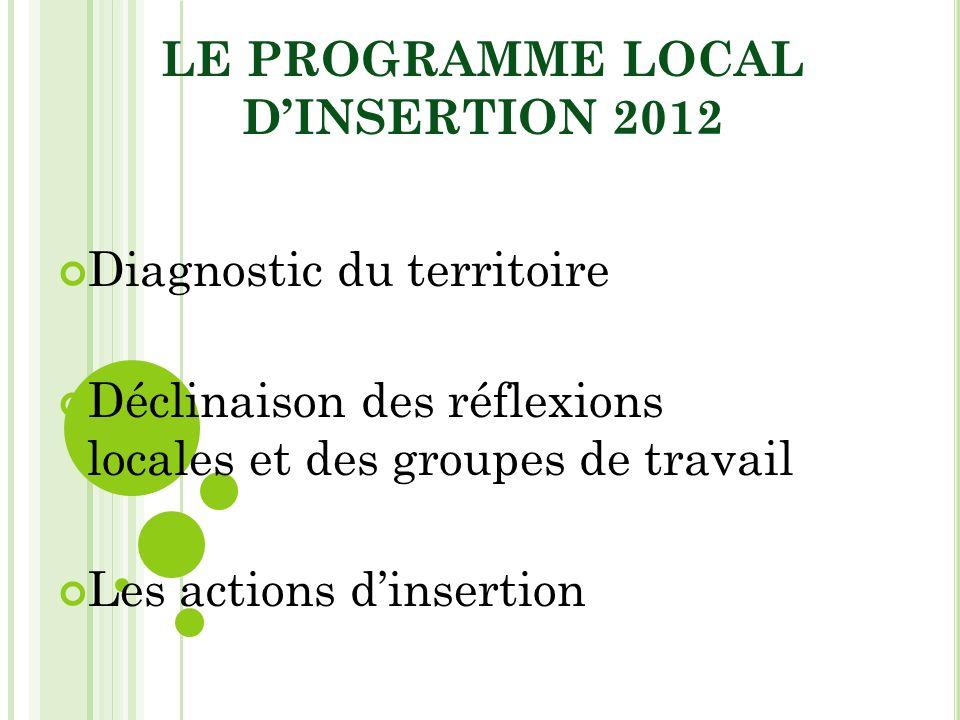LE PROGRAMME LOCAL DINSERTION 2012 Diagnostic du territoire Déclinaison des réflexions locales et des groupes de travail Les actions dinsertion