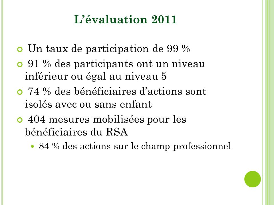 Lévaluation 2011 Un taux de participation de 99 % 91 % des participants ont un niveau inférieur ou égal au niveau 5 74 % des bénéficiaires dactions sont isolés avec ou sans enfant 404 mesures mobilisées pour les bénéficiaires du RSA 84 % des actions sur le champ professionnel