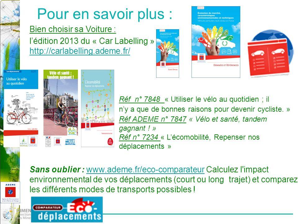Pour en savoir plus : Bien choisir sa Voiture : lédition 2013 du « Car Labelling » http://carlabelling.ademe.fr/ Réf n° 7848 « Utiliser le vélo au quotidien ; il ny a que de bonnes raisons pour devenir cycliste.
