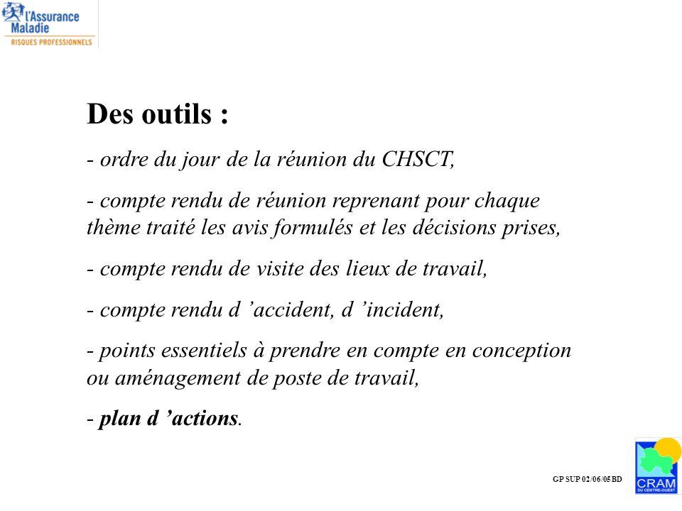 GP SUP 02/06/05 BD Des outils : - ordre du jour de la réunion du CHSCT, - compte rendu de réunion reprenant pour chaque thème traité les avis formulés