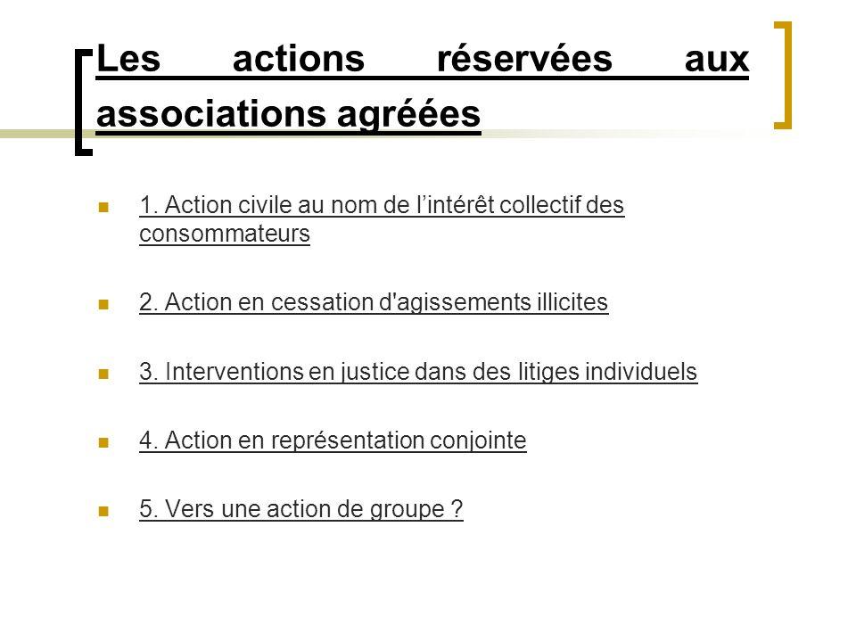 Les actions réservées aux associations agréées 1. Action civile au nom de lintérêt collectif des consommateurs 2. Action en cessation d'agissements il