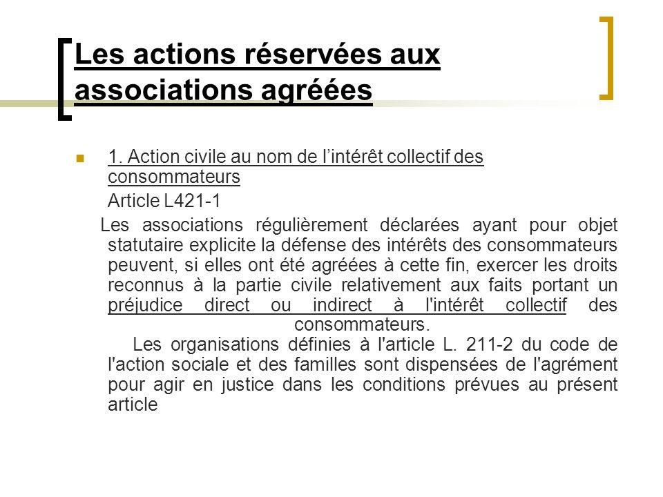 Les actions réservées aux associations agréées 1. Action civile au nom de lintérêt collectif des consommateurs Article L421-1 Les associations réguliè