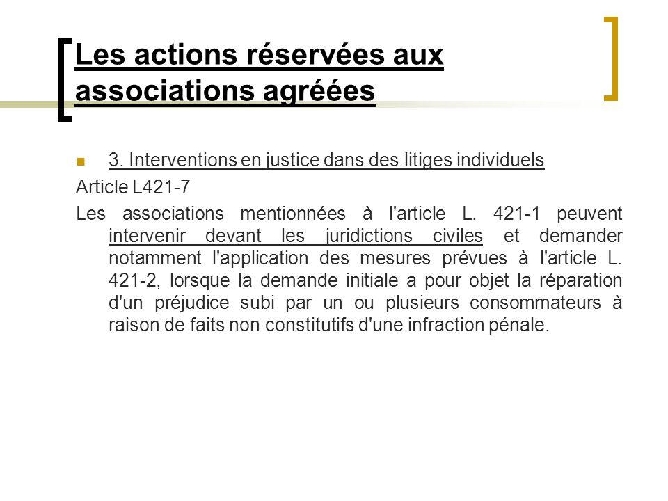 Les actions réservées aux associations agréées 3. Interventions en justice dans des litiges individuels Article L421-7 Les associations mentionnées à