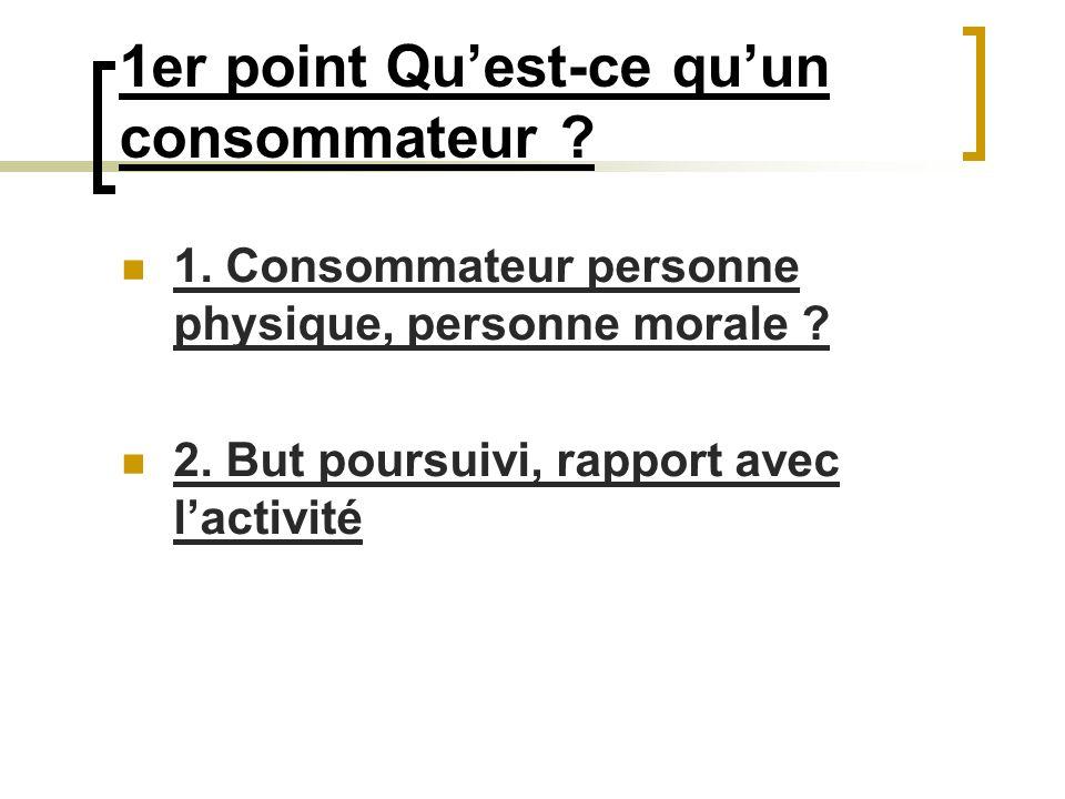 1er point Quest-ce quun consommateur ? 1. Consommateur personne physique, personne morale ? 2. But poursuivi, rapport avec lactivité