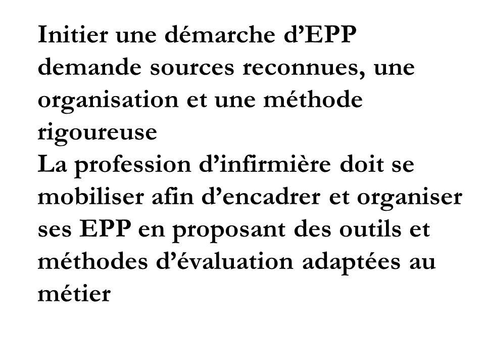 Initier une démarche dEPP demande sources reconnues, une organisation et une méthode rigoureuse La profession dinfirmière doit se mobiliser afin denca