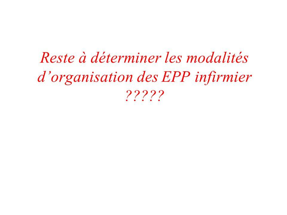 Reste à déterminer les modalités dorganisation des EPP infirmier ?????
