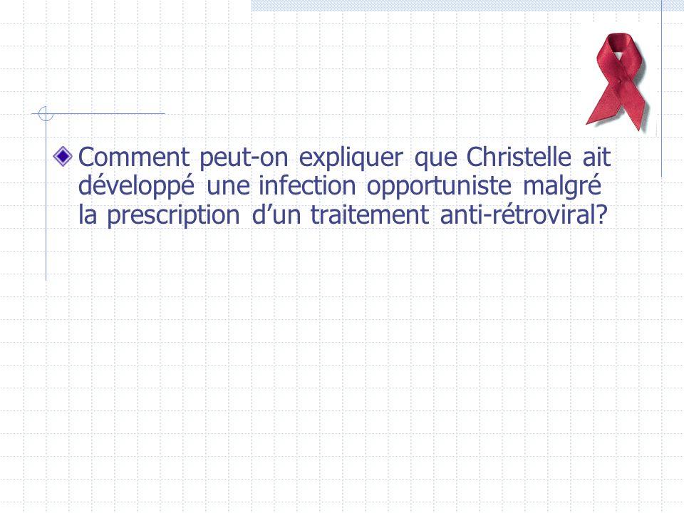 Comment peut-on expliquer que Christelle ait développé une infection opportuniste malgré la prescription dun traitement anti-rétroviral.