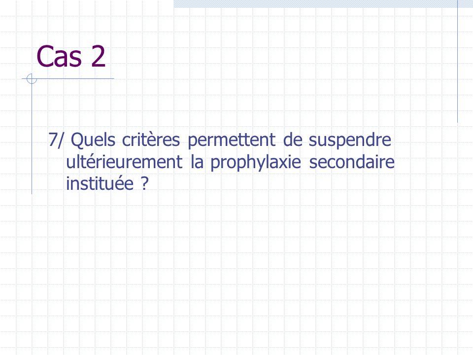 Cas 2 7/ Quels critères permettent de suspendre ultérieurement la prophylaxie secondaire instituée ?