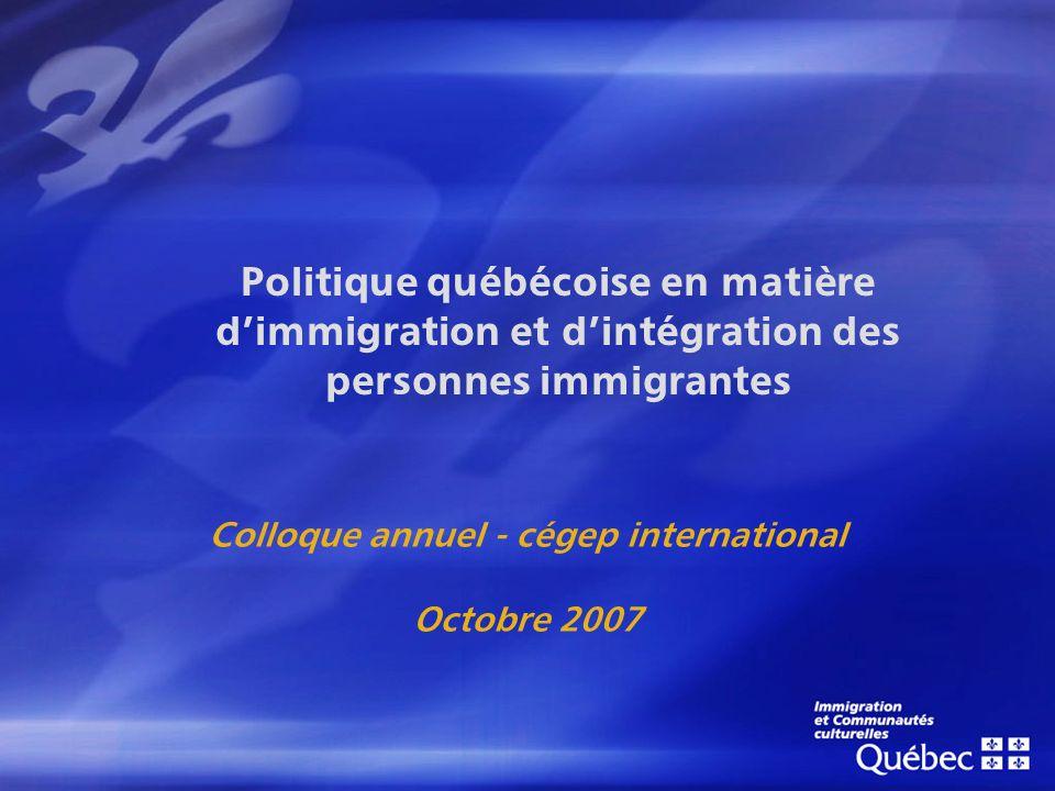 Politique québécoise en matière dimmigration et dintégration des personnes immigrantes Colloque annuel - cégep international Octobre 2007