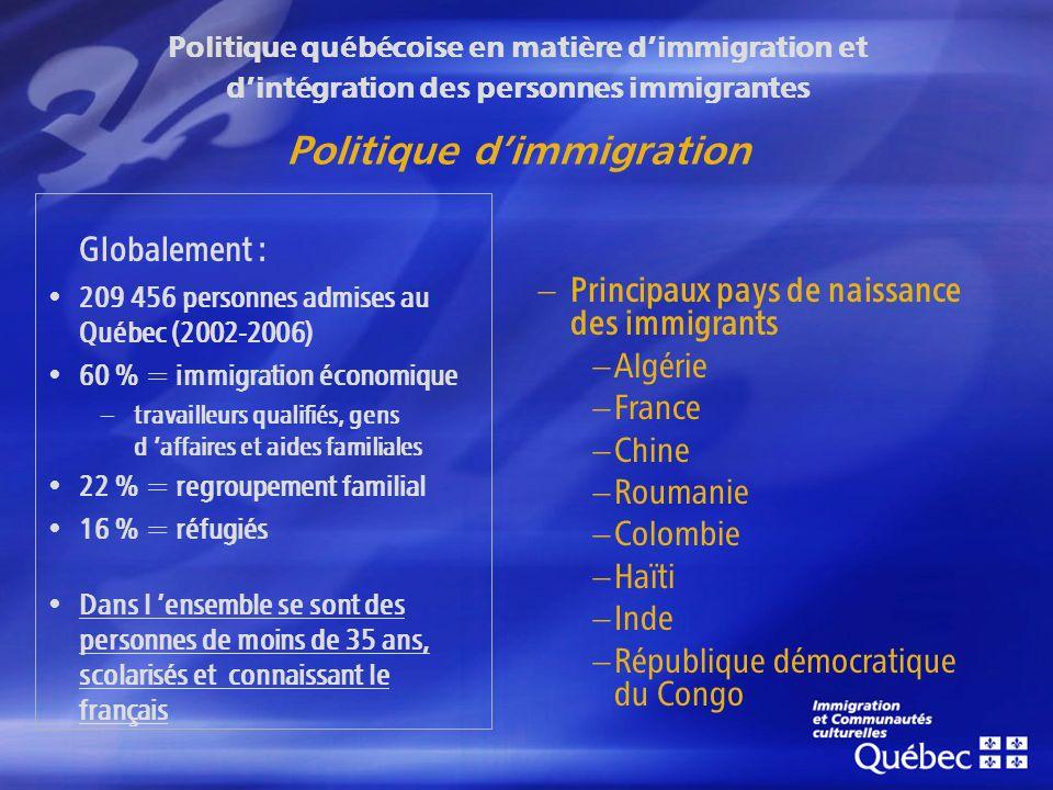 Globalement : 209 456 personnes admises au Québec (2002-2006) 60 % = immigration économique – travailleurs qualifiés, gens d affaires et aides familiales 22 % = regroupement familial 16 % = réfugiés Dans l ensemble se sont des personnes de moins de 35 ans, scolarisés et connaissant le français Principaux pays de naissance des immigrants Algérie France Chine Roumanie Colombie Haïti Inde République démocratique du Congo Politique québécoise en matière dimmigration et dintégration des personnes immigrantes Politique dimmigration