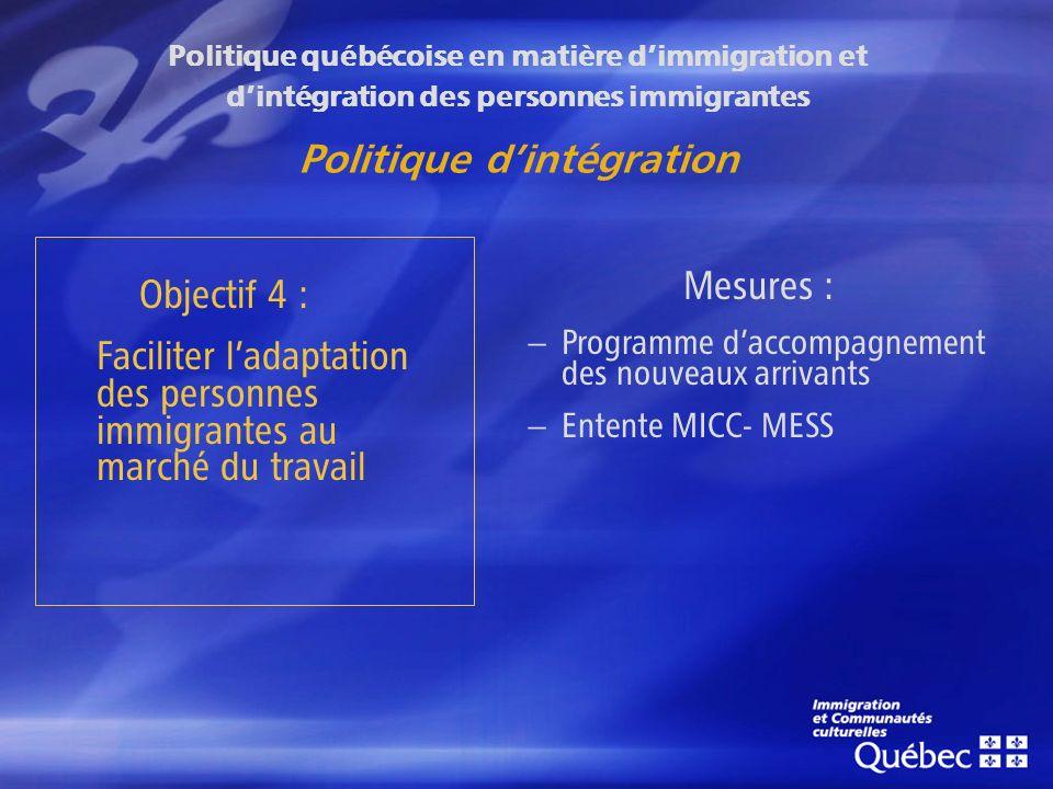 Politique québécoise en matière dimmigration et dintégration des personnes immigrantes Politique dintégration Objectif 4 : Faciliter ladaptation des personnes immigrantes au marché du travail Mesures : – Programme daccompagnement des nouveaux arrivants – Entente MICC- MESS