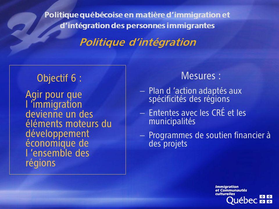 Politique québécoise en matière dimmigration et dintégration des personnes immigrantes Politique dintégration Objectif 6 : Agir pour que l immigration devienne un des éléments moteurs du développement économique de l ensemble des régions Mesures : – Plan d action adaptés aux spécificités des régions – Ententes avec les CRÉ et les municipalités – Programmes de soutien financier à des projets