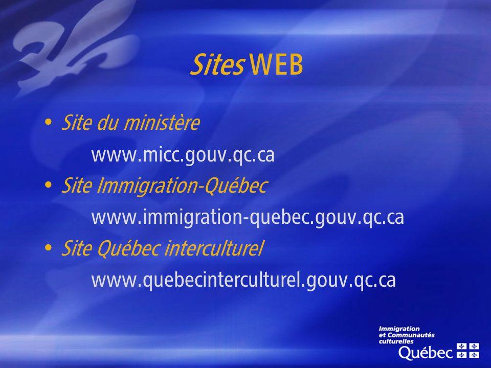Sites WEB Site du ministère www.micc.gouv.qc.ca Site Immigration-Québec www.immigration-quebec.gouv.qc.ca Site Québec interculturel www.quebecinterculturel.gouv.qc.ca