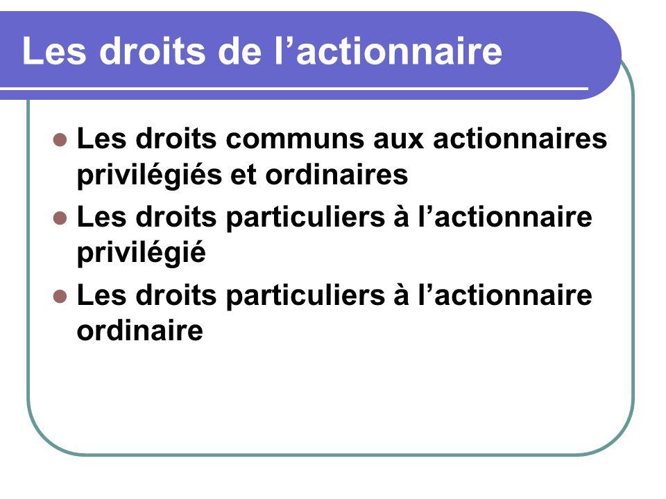 Les droits de lactionnaire Les droits communs aux actionnaires privilégiés et ordinaires Les droits particuliers à lactionnaire privilégié Les droits particuliers à lactionnaire ordinaire