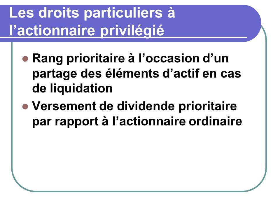 Les droits particuliers à lactionnaire privilégié Rang prioritaire à loccasion dun partage des éléments dactif en cas de liquidation Versement de dividende prioritaire par rapport à lactionnaire ordinaire
