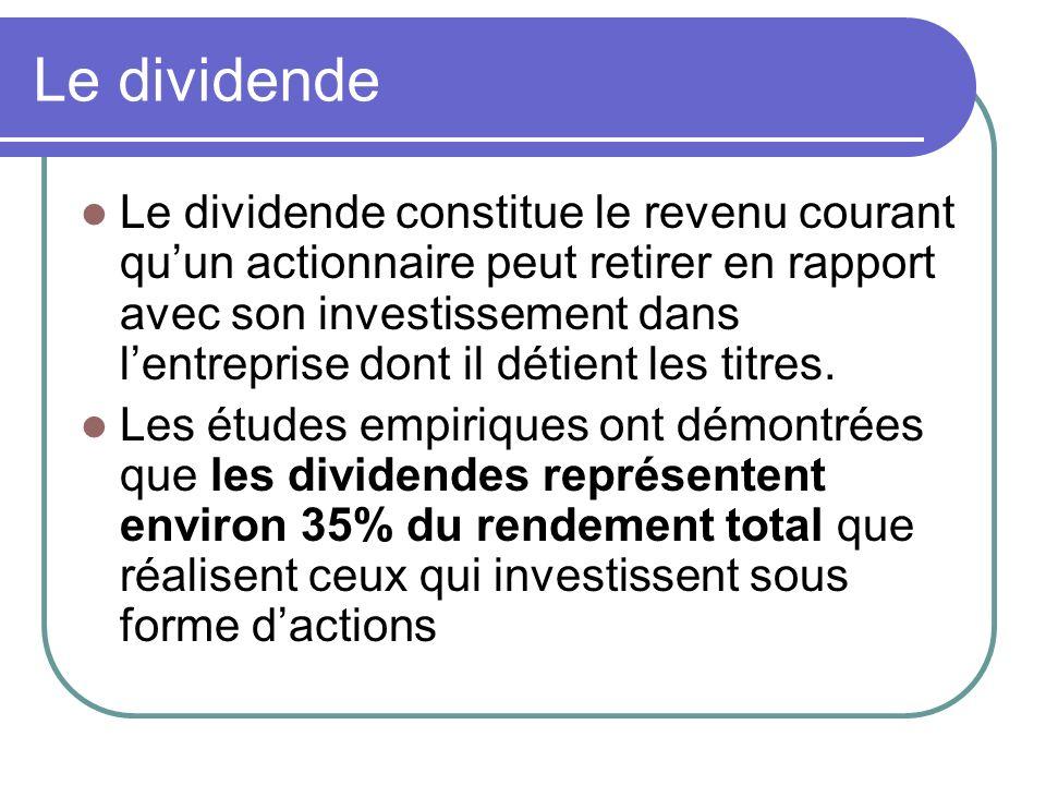 Le dividende Le dividende constitue le revenu courant quun actionnaire peut retirer en rapport avec son investissement dans lentreprise dont il détient les titres.
